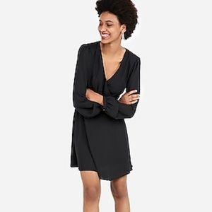 Express Black Textured Surplice Long Sleeve Dress